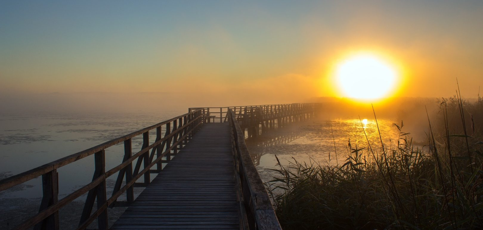 boardwalk to beach at sunrise