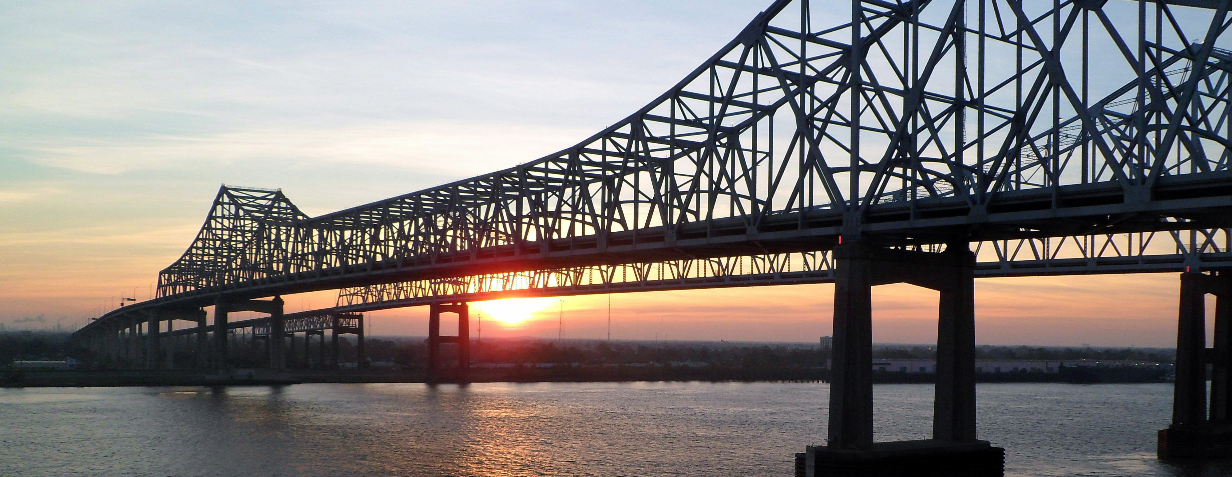 Bridge over the Mississippi River during sunset